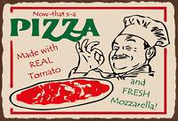 Pizza Tomato Mozzarella Blechschild Schild gewölbt Tin Sign 20 x 30 cm F0223-X