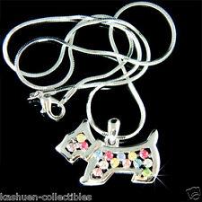 w Swarovski Crystal Rainbow ~WESTIE SCOTTISH Scottie DOG~ Pendant Chain Necklace