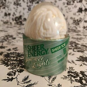 Leggs Sheer Energy Summer Lights Toe Control Top Pantyhose White Size B New