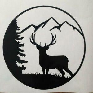 2x Deer Tree Mountain Car Van Vinyl Sticker Decal Car Camper Bumper 5inch Black