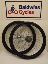 """26 """"paire de frein à disque noir roue de vélo + 7 vitesse shimano roue libre + pneus & tubes"""