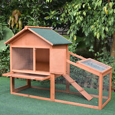 More details for pawhut wood rabbit,bunny,guinea pig hutch water-resistant w/ ramp outdoor use