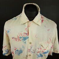 ARMANI Mens Linen Shirt MEDIUM Short Sleeve Beige Regular Fit Abstract