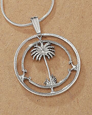 """Sterling Silver Lighthouse Pendant, Hand Cut Palm Tree Coin, 7/8"""" Dia.( # 42S )"""