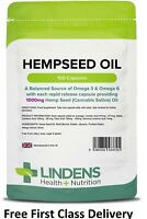 Lindens HempSeed Oil High Strength 1000mg 100 Capsules Omega 3&6 Canabis