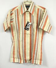 VTG Oleg Cassini Burma Mens 70s Striped Cotton/Poly SS Shirt M Orange NOS Fitted