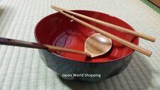 Ramen Bowl Wooden Spoon Chopsticks Set Japanese Lacquer Ware Traditional Japan