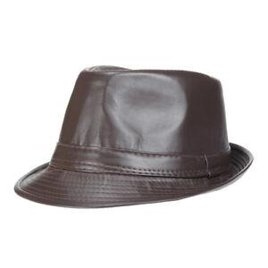 Men Women Fedora Trilby Cap Dance Jazz Hat PU Leather Gangster Party Short Brim
