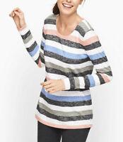 NWT T By Talbots Sz PM Stripe Cutout Back LS Top Stripes Pink Blue $59