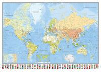 Weltkarte Poster Die Welt Riesenformat 140x100cm + Powerstrips®
