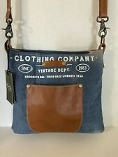 Myra Bag Brooklyn Denim Shoulder Bag Brown Leather Vintage Style