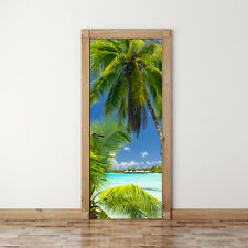 Door Mural Palm tree on Paradise - Self Adhesive Fabric Door Wrap Wall Sticker