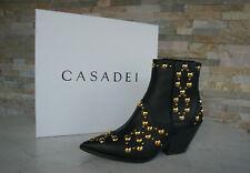 CASADEI  37 Stiefeletten Cowboy Ankle Boots Schuhe schwarz neu ehem UVP 780 €