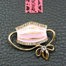 New Betsey Johnson Pink Enamel Cute Face Mask Crystal Charm Brooch Pin