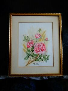 Framed original signed water colour painting of roses by J M Griffiths