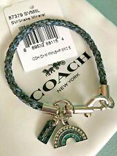 Coach RAINBOW Charms Snakeskin Friendship Bracelet w/ Dogleash Clip