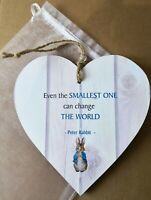 Peter Rabbit Heart Plaque Sign Quote New Baby Nursery Gift & Chiffon Pouch 15cm