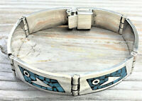 Vintage Sterling Silver Blue Turquoise Chip Taxco Mexico 6 Panel Bracelet