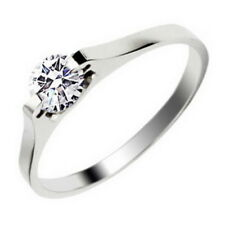 Solitaire Moissanite Silver Surgical Stainless Steel Wedding Ring Size J-U Gift
