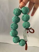 "Chinese Jadeite bracelet with artificial turquoise beads ""21""mm (W) #MD168"