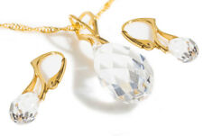 Ah! Jewellery® Delicate Clear Crystals from Swarovski® Briolette Pendant 2pcSet