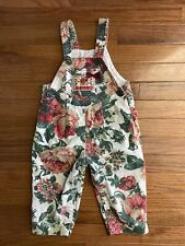 Vintage Baby Girl Red Green Wildflowers Floral Overalls Size 24 Months