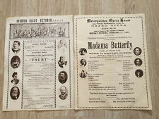 Vintage Metropolitan Opera House Advertising Poster Ads Madama Butterfly