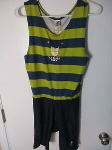 """Small Green & Blue Striped QUALITY TEAM APPAREL """"La Salle Crew"""" Rowing Singlet"""
