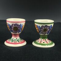 Rare Vintage Tiroler Austria Hand Painted Majolica Egg Cups Codlers Pair of 2
