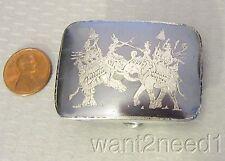 vtg STERLING MADE IN SIAM BELT BUCKLE niello enamel silver FIGHTING ELEPHANT 30g