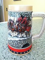 1988 Budweiser Anheuser Busch Clydesdale Mug cup Beer Stein Pottery Ceramarte