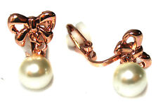 Classic Rose Gold Tone Bow w/ Pearl Drop Girls Womans CLIP ON Earrings