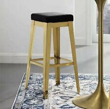 Modway Gold Stainless Steel Upholstered Velvet Black Bar Stool EEI3268GLDBLK NWT