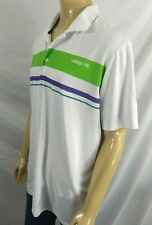 Adidas Golf Polo Mens 2Xl White Green Purple Striped Ss Golf Tennis Gorgeous
