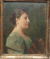 Eleanor NORCROSS Portrait de femme de qualité vers 1890  1900 RARE