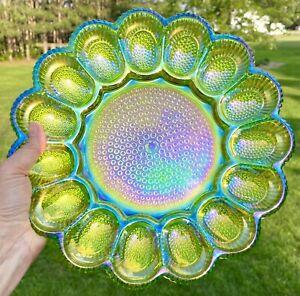 "Vintage Fenton Green Iridescent Carnival Glass Hobnail Deviled Egg Plate 11.25"""