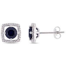 Amour 10KW Sapphire and Diamond Accent Stud Earrings
