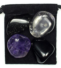 PHYSICAL TENSION Tumbled Crystal Healing Set =4 Stones +Pouch +Description Card