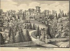 1882 Louisville Kentucky home, L L Dorsey, guaranteed original lithograph print