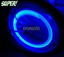 4 X BLUE LED VALVE STEM RIM TIRE LIGHTS ACCESSORIES 4 YOUR CAR TRUCK VAN BIKE...