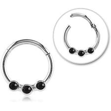 "Hinged Septum Clicker Hoop Nose Ring Ear Cartilage Black Stones 3/8"" 16G"