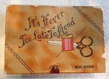 """1950s Sewing Box/Reno, NV/""""It's Never Too Late To Mend""""/Leatherette//Snap Close"""
