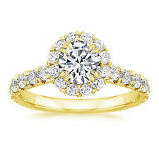 Solitaire Womens Engagement Ring Size 7 5 Bis 14K Yellow Gold 1.50 Ct Diamond