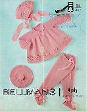 "Bellmans 437 Vintage Baby Girls Knitting Pattern Pram Set 4 ply 19 - 23"""