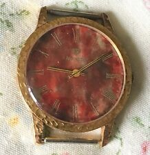 Rare Vintage Nivada  Burgundy/Red Wine Dial Mechanical Mans Watch 14k Gold Plate