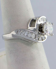1.00ct DIAMOND ROUND ENGAGEMENT 14K WHITE GOLD SEMI MOUNT SETTING RING