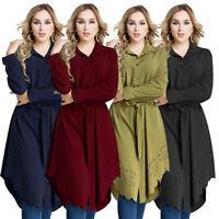 Women Blouse Kaftan Abaya Jilbab Islamic Muslim Cocktail Long Sleeve Shirt Tops