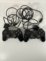 Lot of 2 PlayStation 2 Official OEM DualShock Black Analog Wired Controller A5B