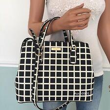 NEW KATE SPADE Black White Saffiano PVC Leather Satchel Tote Shoulder Bag Purse