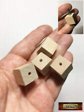 "M01496 MOREZMORE HPA 4 Wooden 5/8"" Cube Bead Cubes 1/8"" Hole Unfinished Wood"